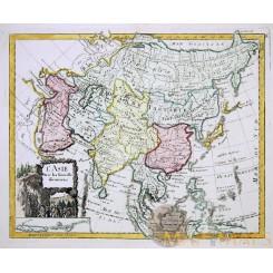 L' Asie avec les Nouvelles decouvertes Old map Asia Le Rouge 1756