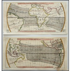 Crosswind between the Continents Old Sea charts by Bellin 1753