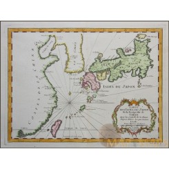 JAPAN KOREA TAIWAN ANTIQUE MAP CARTE DES ISLES DU JAPON BELLIN 1752