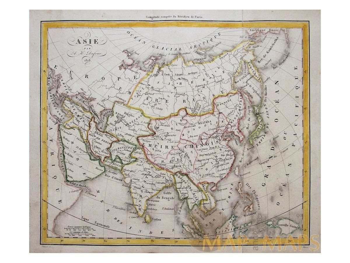 Map Of Asia Japan And China.Asia Antique Map Asie Par A H Dufour 1828 Mapandmap