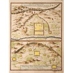Old map China.Plan de Long men Hien,Great Walls. Bellin 1750