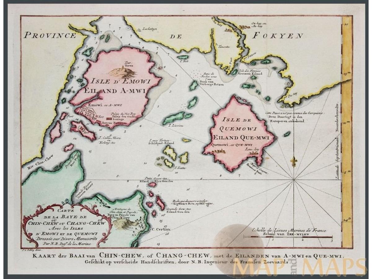 Xiamen China Map.Chin Chew Ou Chang Chew Xiamen China Bellin 1773