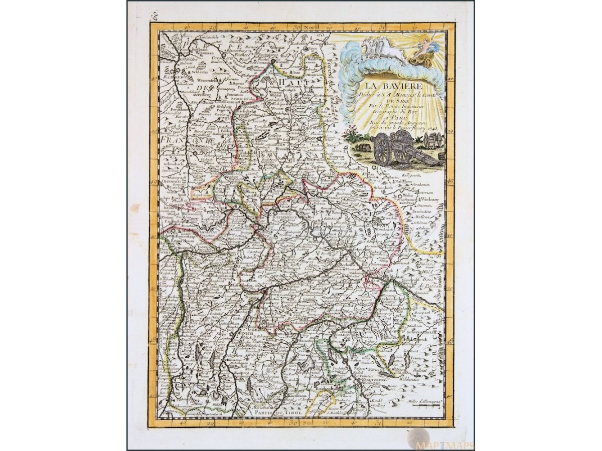 Bavaria Germany antique map by Le Rouge 1756