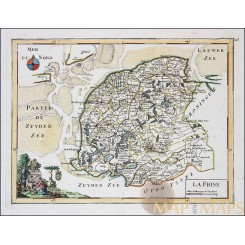 Friesland Holland Old map La Frise by Le Rouge 1748