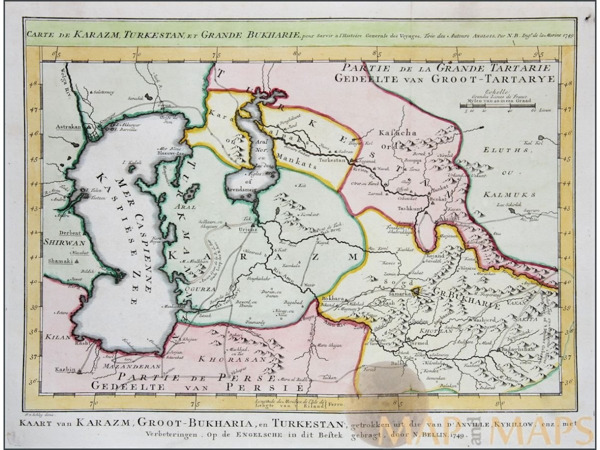 Carte de Karazm Turkestan Old map Central Asia by Bellin 1749 ...