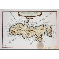 Martinique French Antilles antique map by Bellin 1758