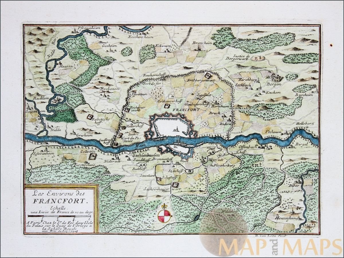 Surroundings of Frankfurt Germany Old map Les Environs des Francfort ...
