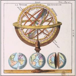 LA SPHERE ARTIFICIELLE – GLOBE - HAND COLORED ENGRAVING - PLUCHE 1739