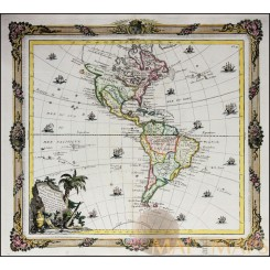 North and South America ANTIQUE MAP L'Amérique/DE LA TOUR/DESNOS 1764