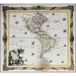 North and South America ANTIQUE MAP L'Amérique/DE LA TOUR/DESNOS 1764