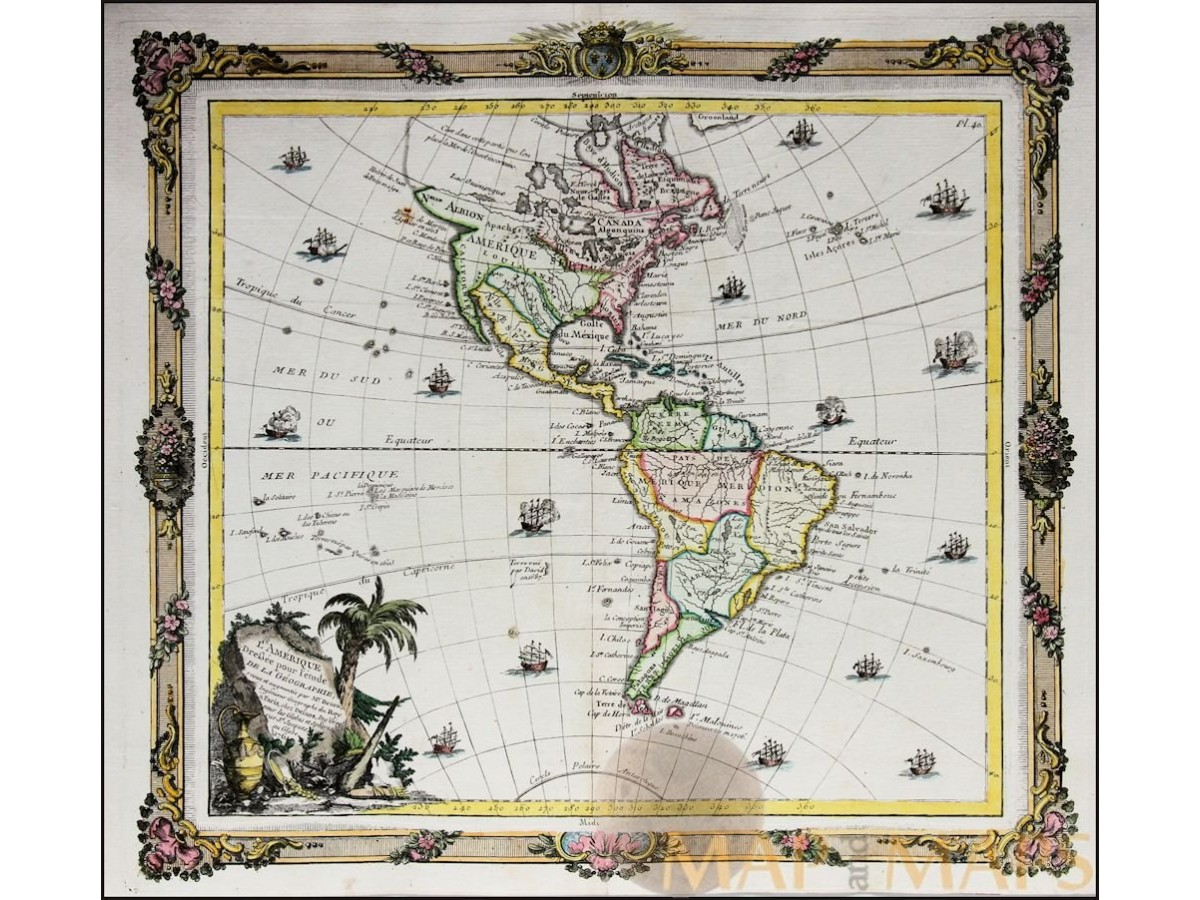 Antique Map Of North America.North South America Old Map L Amerique Desnos Mapandmaps