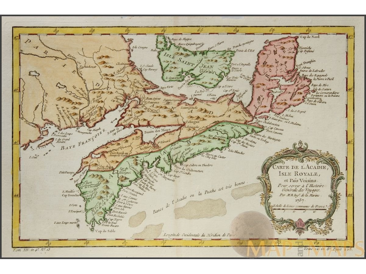 Acadie Canada Map Carte De L'acadie Isle Royale et Pais Voisins. Canada map | Mapandmaps