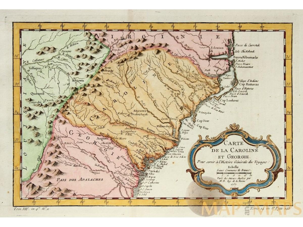 Map Of Old Georgia.Carte De La Caroline Et Georgie Georgia Carolina Bellin Mapandmaps
