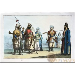 Kurdish Georgian Armenian costumes antique print Hand colored – Sonito 1856