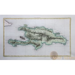 Haiti - Dominican Republic map, Ile St. Domingue. Thiers 1864