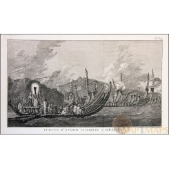 Tahiti Fleet of Otahiti Old print Captain Cook's voyage 1778