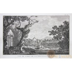 New Caledonia, View of Isle Old Print Voyages James Cook 1778