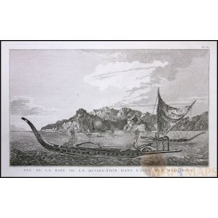 Marquesas Islands canoe, Old Print Voyage James Cook 1780