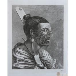 New Zealand Maori Head tattoos Homme de la Nou.le Zelande Cook 1774