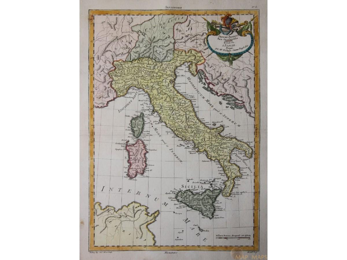 Italy Sicilia Sardinia Old Map Corsica By Philippe 1787 Mapandmaps