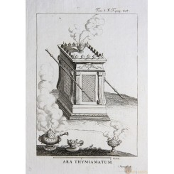 HEBREW ALTAR OF INCENSE ANTIQUE PRINT ARA THYMIAMATUM CALMET 1789