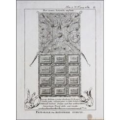 Jewish Breastplate of The High Priest Old print Calmet 1789