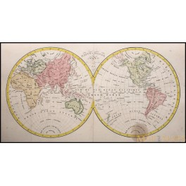 World Hemisphere Mappe Monde original old map 1828 by Dufour