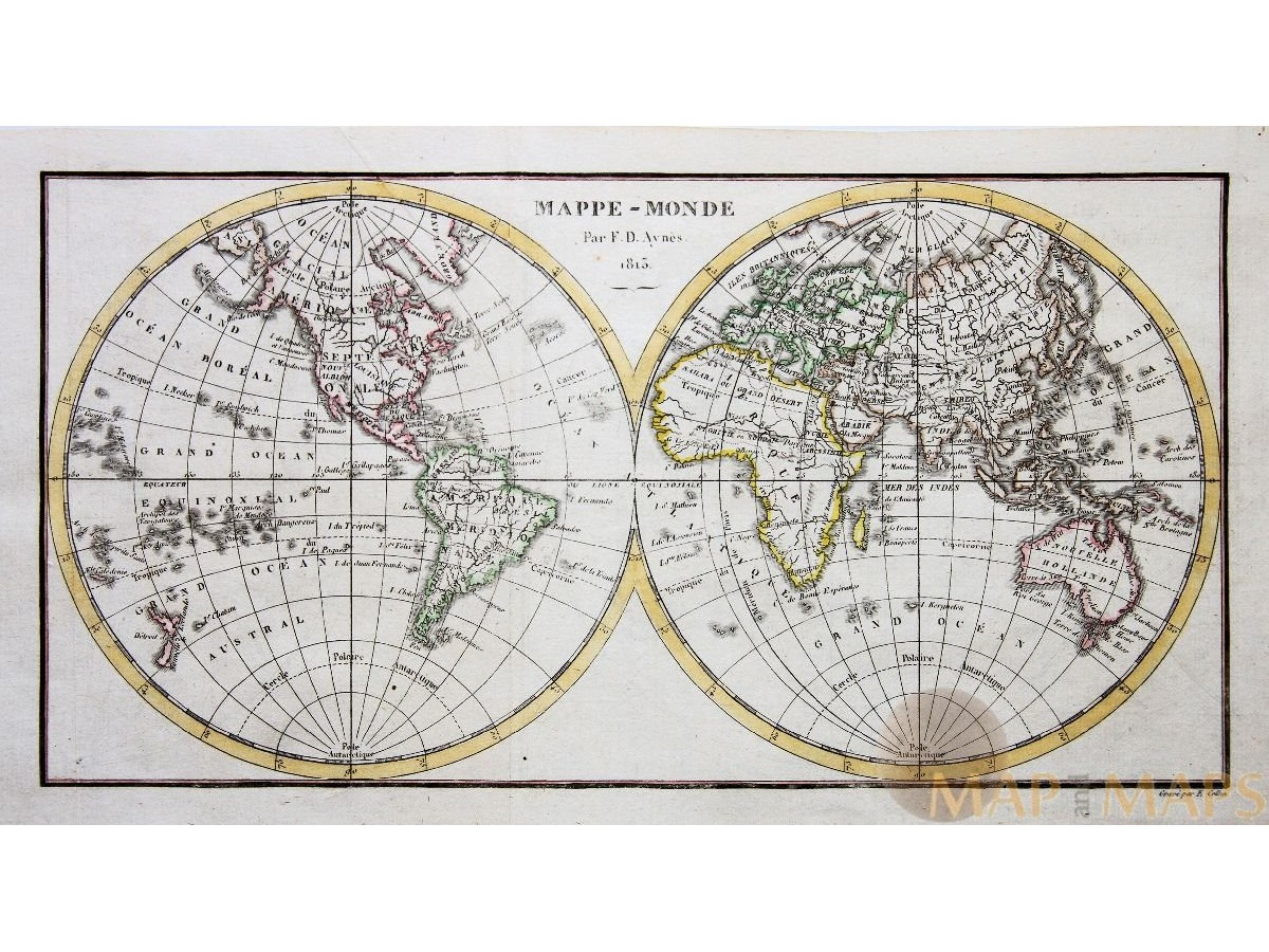 Antique double hemisphere world map mappe monde by ayns 1813 antique world map mappe monde ayns 1813 loading zoom gumiabroncs Images