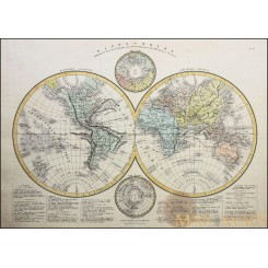 COLONIAL WORLD MAP MAPPE MONDE NORTH POLE AND ANTARCTICA DRIOUX ATLAS 1845.