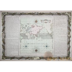 OLD MAP THE WORLD WINDS POUR LES VENTS EUROPE AFRICA ASIA AUSTRALIA DESNOS 1761