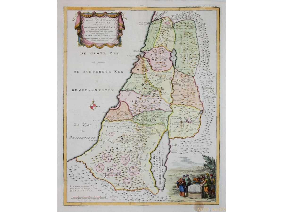 t'Land Kanaan benevens Gilead Israel Goetzee map 1750 on map of vatican city, map of golan heights, map of mediterranean sea, map of mauritius, map of lebanon, map of world, map of west bank, map of holy land, map of dead sea, map of red sea, map of syria, map of saudi arabia, map of middle east, map of iran, map of jerusalem, map of qatar, map of eastern caribbean, map of persian gulf, map of palestine, map of sea of galilee,