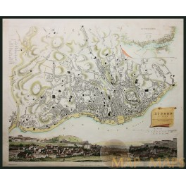 Antique hand colored map Lisbon Portugal by Baldwin & Cradock 1833