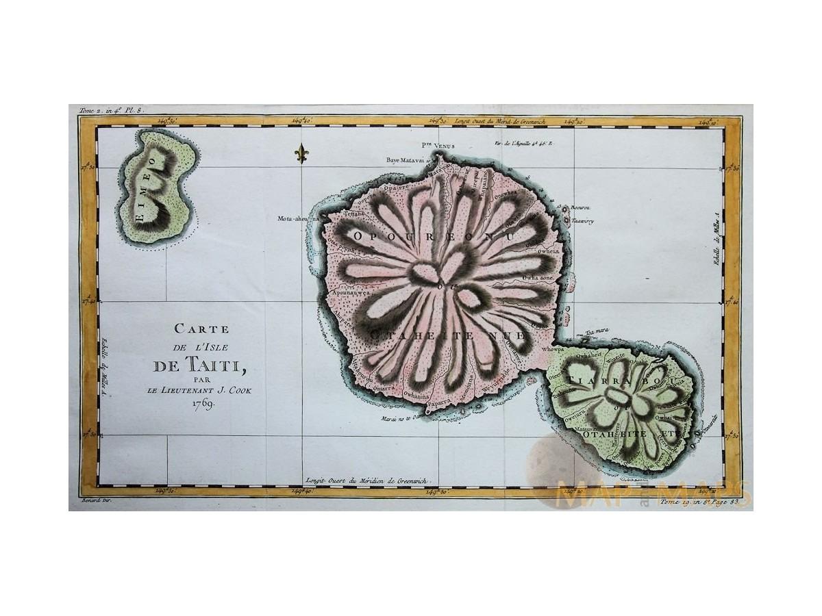 Carte de L\'Isle de Taiti par le J. Cook Tahiti map Bellin 1769 ...