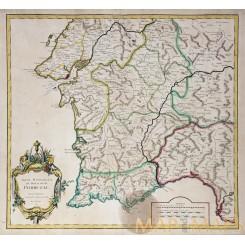 Partie Meridionale du Royaume de Portugal Antique map VAUGONDY 1751