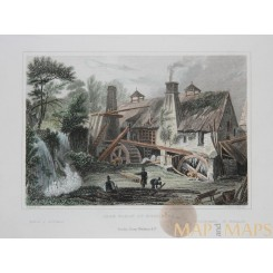Iron Forge at Roillon Pays de la Loire France 1830 old print