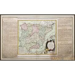 ANTIQUE MAP, SPAIN AND PORTUGAL, BRION DE LA TOUR 1766