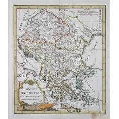 Hungary Hongrie antique old map by Vaugondy 1810