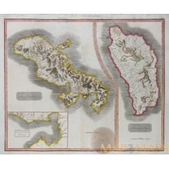 Martinique & Dominica West Indies Old map Thomson 1817