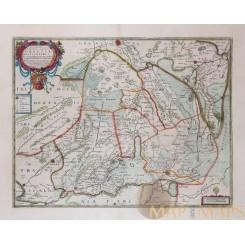 Drente Holland Antique Map POTENTIBUS COMITATUS Drentiae Hondius Janssonius 1638