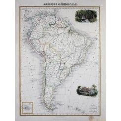 South America Falcon Islands detailed antique map by J. Migeon 1884