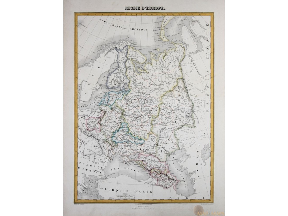 Russia Europe Baltic states Poland Estonia Latvia and Finland detailed  antique map by Migeon 1884