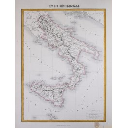 Southern Italy in the 19th century, antique map by Migeon 1884