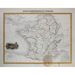 Roman Gaul, France in Roman times antique map by Migeon 1884