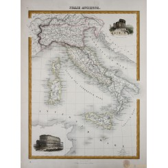 Ancient Italy in Roman times antique map by Migeon 1884