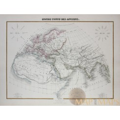 The Old World, Europe, Asia and Africa antique map by Migeon 1884