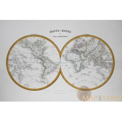 WORLD MAPS IN TWO HEMISPHERS - ANTIQUE MAP BY MIGEON 1884