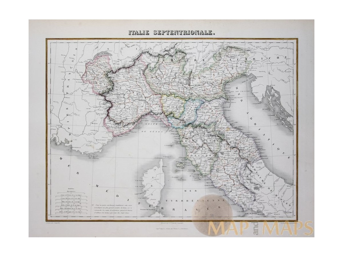 Map North Italy Regions.Northern Italy Antique Map Toscane Sardinia Migeon Mapandmaps