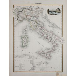 Antique map Italy, Sicily, Sardinia and Corfu. Hand colored-Migeon 1884