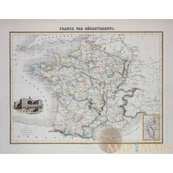 Antique map Departments of France, hand colored Migeon 1884