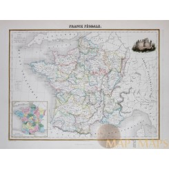 Fine detailed map of France with a image of Castle de Pierrefonds signed by Schreuder.